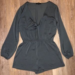 Forever 21 dark grey satin romper with front tie